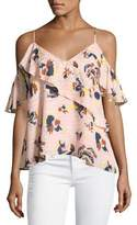 Tanya Taylor Chiara Cold-Shoulder Textured Silk Abstract Floral Top, Pink