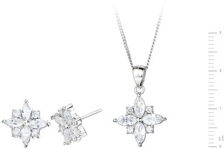 The Love Silver Collection Sterling Silver Cubic Zirconia Star Stud Earrings and Pendant Set