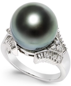 Macy's Cultured Tahitian Black Pearl (13mm) and Diamond (3/5 ct. t.w.) Ring in 14k White Gold