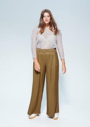MANGO Violeta BY Pleat detail pants olive green - 10 - Plus sizes