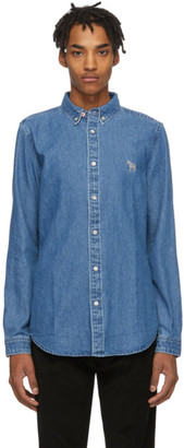 Paul Smith Blue Denim Tailored Fit Zebra Shirt