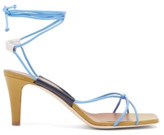 Malone Souliers X Roksanda Camilla Leather Sandals - Womens - Blue Multi