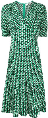 Diane von Furstenberg Jemma Cinch-Sleeve Crepe Midi Dress