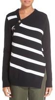 Proenza Schouler Cashmere & Cotton Asymmetrical Neck Pullover