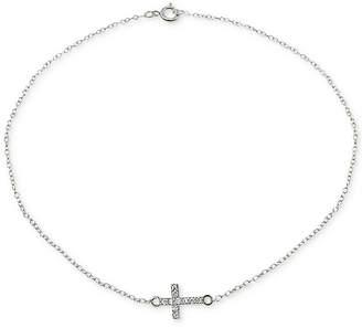 Giani Bernini Cubic Zirconia Cross Ankle Bracelet in Sterling Silver
