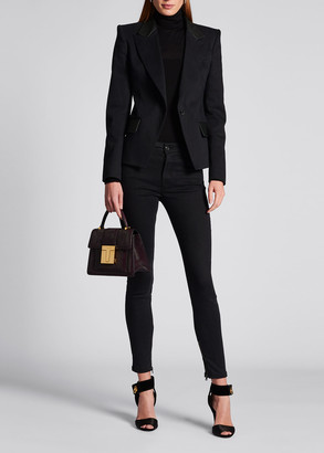 Tom Ford Denim Leather-Lapel Jacket