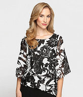 Alex Evenings Tiered Floral Chiffon Blouse