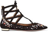 Aquazzura Belgravia Embroidered Suede Point-toe Flats - Black