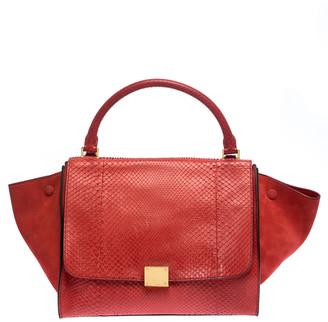 Celine Orange Python and Suede Medium Trapeze Bag
