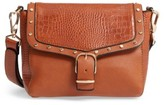 Topshop Romeo Embossed Faux Leather Crossbody Bag - Brown
