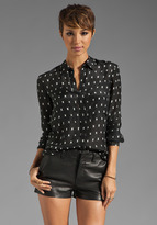 Theory Jaca Printed Silk Dobby Durlia Blouse in Black/White