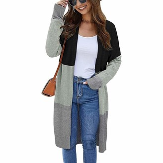 Heflashor Womens Color Block Striped Draped Kimono Cardigan Long Sleeve Open Front Casual Knit Sweaters Coat Soft Outwear Black