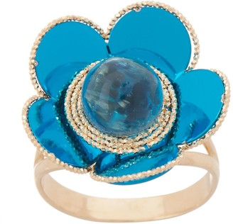 Italian Gold Gemstone Flower Ring, 14K Gold