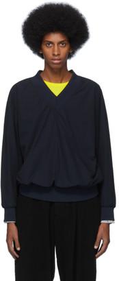Issey Miyake Navy Jersey Taffeta V-Neck Sweater