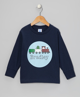 Swag Navy Holiday Train Personalized Tee - Toddler & Boys