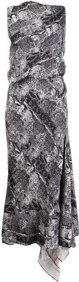 Maticevski Draped Snakeskin-Print Dress