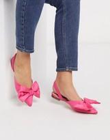 London Rebel slingback bow mules in pink