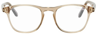 Tom Ford Beige Blue Block Soft Round Glasses