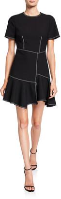 Cinq à Sept Azure Short-Sleeve Flounce Dress