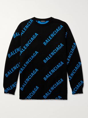 Balenciaga Oversized Logo-Intarsia Cotton-Blend Sweater