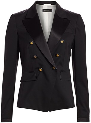 Escada Double Breasted Wool Tuxedo Jacket
