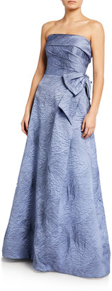 Rickie Freeman For Teri Jon Textured Strapless Cuff Side-Draped Gown w/ Bow