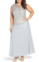 Pisarro Nights Plus Size Women's Embellished Popover Gown