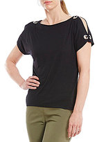 Westbound Grommet Cold Shoulder Top
