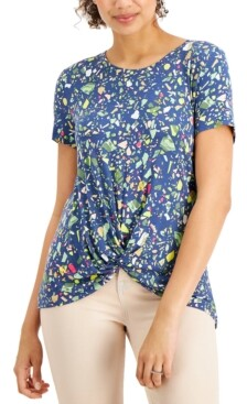 Style&Co. Style & Co Printed Twist-Front Top, Created for Macy's