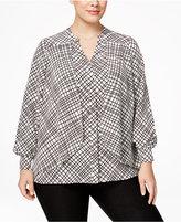 Alfani Plus Size Grid-Print Flyaway Blouse, Only at Macy's
