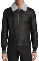 Theory Dobbis Essence Shearling-Trimmed Leather Jacket