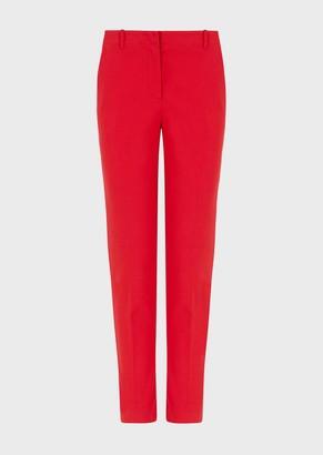 Emporio Armani Couture Cotton Cigarette Cut Trousers