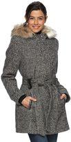 Women's Braetan Hooded Faux-Fur Wool Tie Belt Coat