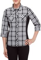 Allison Daley 3/4 Roll-Tab Sleeve Plaid Button Front Shirt
