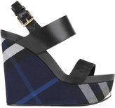 Burberry checked wedge sandals - women - Leather - 38