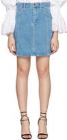 Chloé Blue Denim Scalloped Skirt