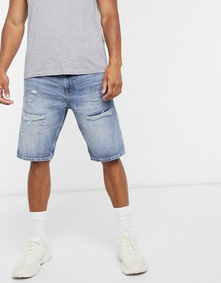 Esprit denim shorts with distressing in blue