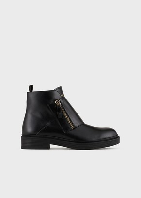 Giorgio Armani Leather Beatle Boots With Band And Zip