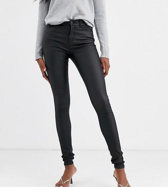 Vero Moda Tall coated skinny jeans in black