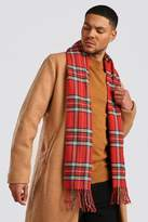 BoohoomanBoohooMAN Mens Red Check Knitted Tassel Scarf, Red