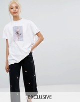 Lazy Oaf Oversized T-Shirt With Rose