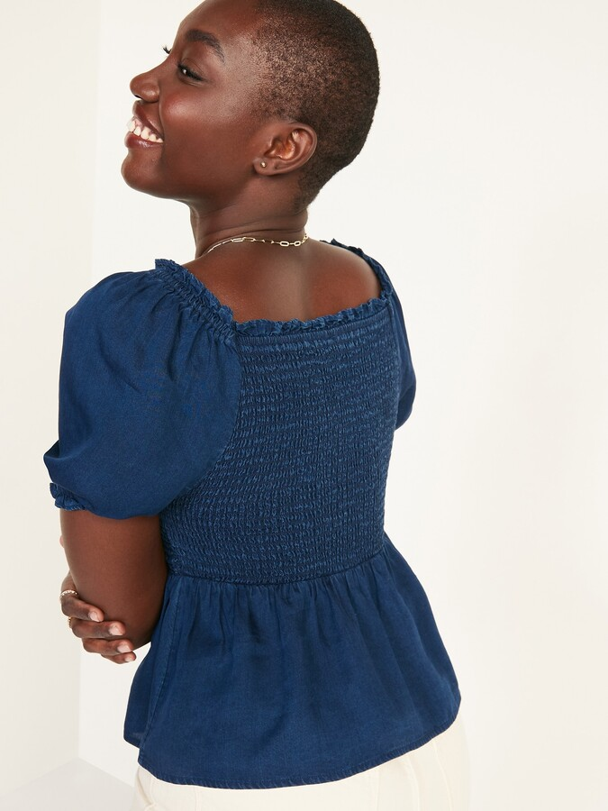 Thumbnail for your product : Old Navy Smocked Chambray Puff-Sleeve Blouse for Women