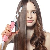 Curling Iron - Elechomes EB201 Studio Salon Home Collection Perfect Digital Ceramic Curling Wand, Professional Hair Curler Tool Set Offers Maximum Versatility, Pink - White