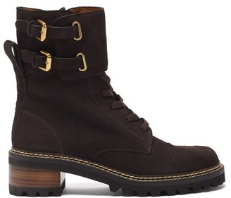See by Chloe Mallory Buckled-strap Suede Boots - Dark Brown
