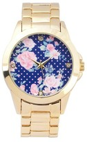 Geneva Platinum Women's Floral Round Face Link Watch