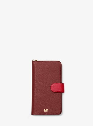 MICHAEL Michael Kors Two-Tone Saffiano Leather Wristlet Folio Case for iPhone XR