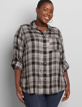 Lane Bryant Plaid Button-Front Boyfriend Shirt With Metallic Threading