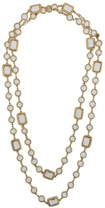 Chanel Pre Owned Crystal-Embellished Double-Chain Necklace