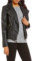 Jessica Simpson Asymmetrical Zip Faux-Leather Moto Jacket
