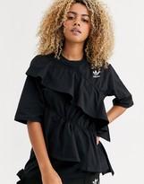 adidas x J KOO trefoil ruffle t-shirt in black